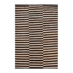 "ALRUG - Handmade Beige Oriental Kilim  6' 8"" x 9' 11"" (ft) - This Afghan Kilim design rug is hand-knotted with Wool on Wool."