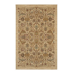 """Karastan - Traditional Shapura 5'9""""x9' Rectangle Medium Beige-Light Beige Area Rug - The Shapura area rug Collection offers an affordable assortment of Traditional stylings. Shapura features a blend of natural Medium Beige-Light Beige color. Machine Made of New Zealand Wool the Shapura Collection is an intriguing compliment to any decor."""