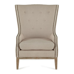 Natalia Chair - Simple elegance is the hallmark of this refined occasional chair. Nailhead trim outlining the arms and shallow button tufting add definition and texture to its classic shape.