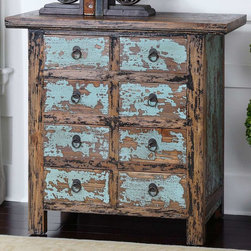 """Uttermost - Camryn Aged Accent Chest - Constructed With Antique Chinese Tradition, The Solid Elm Wood Drawers And Cabinet Are Beautifully Finished In Vibrant, Robin's Egg Blue And Black Crackle, Heavily Distressed To Show Wood Grain Undertones. Uttermost's Accent Tables Combine Premium Quality Materials With Unique High-style Design. Bulbs included?: NO; Overall Dimensions: 16""""D x 38""""W x 35.5""""H"""