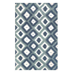 """Trans-Ocean - Ikat Diamonds Aqua 42"""" x 66"""" Indoor/Outdoor Flatweave Rug - The highly detailed painterly effect is achieved by Liora Mannes patented Lamontage process which combines hand crafted art with cutting edge technology. These rugs are Hand Made of 100% Polyester fibers that are intricately blended together using Liora Manne's patented Lamontage process. They are then finished using modern needle punching and latexing processes that create a work of art that is practical. The flat simple nature of these Lamontage rugs is an ideal base with which to create a rug that is at the same time a work of art. Perfect for any Indoor or Outdoor space, they are antimicrobial,  UV stabilized, and easy care."""