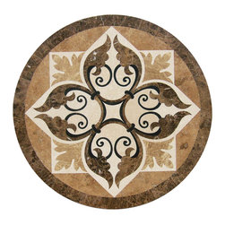 "Floor Medallions Online - 40"" Waterjet Medallion - Pomfret - The Pomfret possesses a beautiful leaf and vine design that adds a contemporary elegance to a traditional design. Crafted of the finest natural stones, the Pomfret is sure to be the centerpiece of your entrance!"