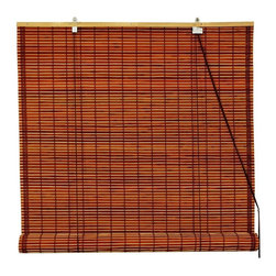 Oriental Unlimited - Burnt Bamboo Roll Up Blinds in Brown (24 in. - Choose Size: 24 in. WideCasual and relaxed with an island inspired appeal, these burnt bamboo roll up blinds will easily enhance your home's decor. Perfect for any room of your home, the blinds are available in your choice of sizes and are designed to diffuse light without preventing it from brightening your space. Burnt bamboo roll up blinds are a versatile addition to any window. They will fit in with any decor. Easy to hang and operate. 24 in. W x 72 in. H. 36 in. W x 72 in. H. 48 in. W x 72 in. H. 60 in. W x 72 in. H. 72 in. W x 72 in. H
