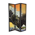 "Oriental Furniture - 6 ft. Tall Japanese Wave Shoji Screen - 3 Panels - This breathtaking shoji screen features a reproduction of the classic ukiyo-e woodblock print masterpiece ""The Great Wave off Kanagawa"" by renowned Edo period artist Hokusai. Printed on traditional washi rice paper, the bold colors and crisp details of Hokusai's classic work look refreshingly hip and modern in this one-of-a-kind room divider."