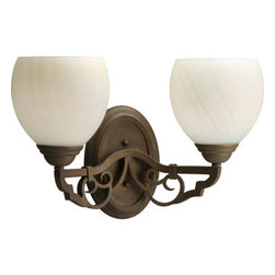 Thomasville Lighting - Thomasville Lighting P2747-102 Meeting Street 2 Light Bathroom Fixture - Thomasville Lighting P2747-102 Two Light Meeting Street Bathroom FixtureWith Antique Swirl Art Glass highlighting naturalistic curled Roasted Java iron work, you can almost hear the ringing of the blacksmith's hammer as this fixture was forged. Add a turn of the century charm to any room in your home with this classic dual light wall sconce.With a Forged Black or Roasted Java finish, the Meeting Street collection features antique opal swirl art glass.Thomasville Lighting P2747-102 Features: