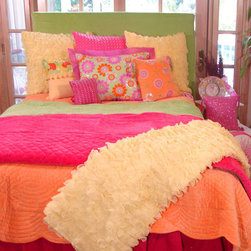 Citrus Splash Bedding - A citrus color palette is vibrant, fun, fresh and perfect for a kids' bedroom or play area. This bedding looks good enough to eat and would be adorable in a girl's room. It's a great choice for little girls transitioning into their teenage years.