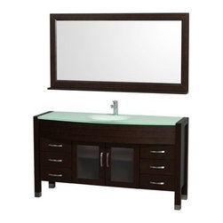 "Wyndham Collection(R) - Daytona 60"" Bathroom Vanity with Mirror by Wyndham Collection - Espresso - The Daytona 60"" Bathroom Vanity Set with Mirror is a modern classic with elegant, contemporary lines. This beautiful centerpiece, made in solid, eco-friendly zero emissions wood, comes complete with mirror and choice of counter for any decor. From fully extending drawer glides and soft-close doors to the 3/4"" green glass, ivory marble or man-made stone counter, quality comes first, like all Wyndham Collection products. Doors are made with fully framed glass inserts, and back paneling is standard. Available in gorgeous contemporary Cherry or rich, warm Espresso. Transform your bathroom into a talking point with this Wyndham Collection original design, only available in limited numbers. The Daytona 60 inch vanities offer choices for countertops that include Ivory Marble with undermount sink, and the amazing 3/4 inch thick one-piece counter and integral sink which gives the Daytona vanity the beautiful, clean look necessary in any modern vanity. Both the mirror and faucet are included in this magnificent vanity set, supplying you with everything you need for your bathroom remodel.The Wyndham Collection is an entirely unique and innovative bath line. Sure to inspire imitators, the original Wyndham Collection sets new standards for design and construction. Available in additional sizes, finishes and counter options. Features Constructed of solid, environmentally friendly, zero emissions wood, engineered to prevent warping and last a lifetime All counters are pre-drilled for a single-hole faucet Includes drain assembly and P-trap Includes Matching Mirror Six (6) fully functional drawers Two (2) soft-close doors Concealed soft-close door hinges Counter options include Green Glass, White Man-Made Stone, Ivory Marble Includes integrated sink with green glass or white man-made stone and undermount sink with ivory marble counter Brushed Chrome exterior hardware Plenty of storage space How to handle your counter Spec Sheet for Vanity with Integrated Sinks Spec Sheet for Vanity with Undermount Sinks Spec Sheet for Tavello Side Cabinet (WC-K-W045) Spec Sheet for April Rotating Wall Cabinet (WC-V202) Spec Sheet for Diana Wall Cabinet (WC-V203) Spec Sheet for Bailey Wall Cabinet (WC-V205) Spec Sheet for Shaina Linen Tower (WC-V206) Spec Sheet for Centra Wall Cabinet (WC-V207) Installation Guide for Centra Wall Cabinet (WC-V207) Installation Guide for Vanity Natural stone like marble and granite, while otherwise durable, are vulnerable to staining from hair dye, ink, tea, coffee, oily materials such as hand cream or milk, and can be etched by acidic substances such as alcohol and soft drinks. Please protect your sink by avoiding contact with these substances. For more information, please review our ""Marble & Granite Care"" guide."
