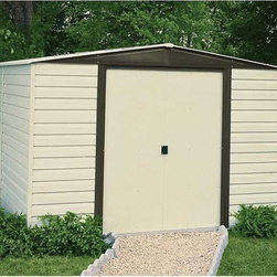 Arrow Shed - Arrow Shed Vinyl Dallas 10 x 12 ft. Shed Multicolor - VD1012 - Shop for Sheds and Storage from Hayneedle.com! Big jobs require big equipment and Texas-sized jobs require the Arrow Shed Vinyl Dallas 10 x 12 ft. Shed. A well-kept lawn and garden is no easy trick and requires both hard work and lots of equipment. When the work is done though hiding your tools in this attractive shed makes your results look effortless. And with all the implements you can fit in this shed you'll be able to free your basement yard and garage of all manner of clutter. The beautifully paired almond and coffee color combination adds a rustic touch that compliments any exterior design or landscaping. And the low gable of the reinforced steel roof both avoids rainwater pooling up top and affords you plenty of head room when grabbing your implements. With easy-sliding doors that can be padlocked this shed keeps your items safe and sound. Made in the United States this shed is constructed with vinyl-coated electro-galvanized steel making it five times thicker and stronger than standard steel buildings. With numbered and predrilled parts this shed can be assembled quickly and easily as a weekend project with basic DIY skills.Additional Features:Exterior Dimensions: 123.25W x 145.75D x 82.13H inchesInterior Dimensions: 118.25W x 140.5D x 80.88H inchesDoor Dimensions: 55.5W x 69.25H inchesAbout Arrow Storage ProductsEstablished in 1962 as Arrow Group Industries Arrow Storage Products is now the worldwide leader in designing manufacturing and distributing steel storage sheds that are easily assembled from a kit. Arrow Storage Products hasn't garnered its 13 million customers by resting on its laurels either. The company takes great pride in having listened to their customers over the years to develop quality products that meet people's storage needs. From athletic equipment to holiday decorations from tools to recreational vehicles Arrow Storage Products prides itself on providing quality USA-built structures that offer storage solutions. Available in a wide variety of sizes models finishes and colors - Arrow's products are constructed with electro-galvanized steel to be more affordable durable attractive and easy to assemble.