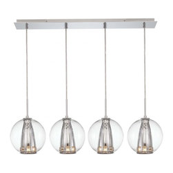 Minka George Kovacs - Minka George Kovacs Bling Bang 4-Light Chrome Finish Island Light - This 4-Light Island Light is part of the Bling Bang Collection and has a Chrome finish and a Perforated Steel with Crystals; Clear Shade.