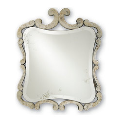 Currey & Co - Currey & Co 4345 Sazerac Antique Mirror Mirror - This striking old-style mirror is part of the exquisite Sazerac collection. The charming antique- style bevel-edged mirror is mounted in an ornately carved wooden frame that has an antiqued patina finish. The 33cm high antiqued looking glass is a versatile home accessory that would look stunning in the hallway, lounge or bedroom. This charming French-style wall mirror will undoubtedly delight discerning homeowners. The Currey & Co 4345 Sazerac Antique Mirror Mirror is a work of art in its own right.