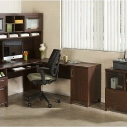 Bush Office Connect Achieve L-Shaped Desk with Hutch and Lateral File - Sweet Ch - Working can be a chore at times, but you can make it as pleasant as possible by surrounding yourself with a beautiful, sweet cherry-finished office set-up like the Bush Office Connect Achieve L-Shaped Desk with Hutch and Lateral File - Sweet Cherry. Crafted of wood solids and veneers, this attractive Bush Office set has everything you need to create a functional and aesthetically pleasing home office, from the spacious L-shaped desk and storage-friendly hutch to a lateral file case that doubles as a printer stand. And there are plenty of extras, such as an integrated wire management grommet and four-port USB hub and handy pull-out tray that works for a traditional keyboard or laptop, as well as a charging station, supply drawer, and lockable file drawer for your letter-size files. There's even more storage in the right pedestal, which has a large storage compartment with an adjustable shelf tucked inside.About Bush FurnitureBush Furniture is the eighth largest furniture company in the United States. Bush manufactures high-quality products, which are designed to be easily assembled and provide great value for the price. Bush furniture is made from a combination of particleboard, fiberboard, and solid wood components. The use of real wood components will be noted in the product description, if applicable.Bush Industries has over 4,000,000 total square feet of manufacturing, warehousing, and distribution space. This allows for a very wide selection of high-quality furniture with the ability to ship quickly. All standard residential Bush products carry a generous 6-year warranty. All Bush business furniture, including the A series, C series, and Quantum series, is backed by a 10-year warranty from Bush, one of the best in the industry.