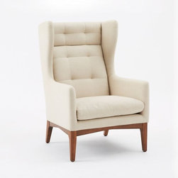 James Harrison Wing Chair, Fabric - I love the high back and tufting on this piece. And the legs and wings make it very sculptural.