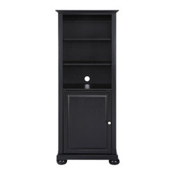 Crosley Furniture - 57 in. Audio Pier in Black Finish - Beautiful raised panel doors. Adjustable shelving. Wire management. Brushed nickel hardware. Adjustable levelers in legs. ISTA 3A certified. Hand rubbed, multi-step finish. Warranty: 90 days. Made from solid hardwood and wood veneer. Assembly required. 24 in. W x 18 in. D x 57 in. H (76.06 lbs.)Enhance your living space with Crosleys versatile audio pier. The hand rubbed, multi-step finish pairs perfectly with your Crosley TV stand but is designed to blend beautifully with the family of furniture that may already be a part of your home.
