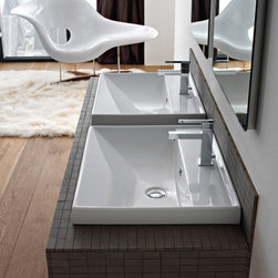 Scarabeo - Square White Ceramic Self Rimming or Wall Mounted Bathroom Sink - Square white ceramic self rimming or wall mounted sink. Suspended or self rimming sink comes with overflow and one or three drilled hole options. Made in Italy by Scarabeo. Made out of white ceramic. Back of sink is not glazed. Contemporary design. Includes overflow. ADA compliant. One Hole or three hole. Standard drain size of 1.25 inches. Because the sink has multiple installations, the back side is not glazed.