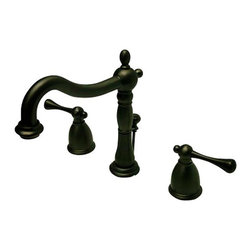 Kingston Brass - Two Handle 8in. to 14in. Widespread Lavatory Faucet with Brass Pop-up - Two Handle Deck Mount, 3 Hole Sink Application, 8in. to 14in. Widespread, Fabricated from solid brass material for durability and reliability, Premium color finish resists tarnishing and corrosion, 1/4 turn On/Off water control mechanism, 1/2in. IPS male threaded inlets with rigid copper piping, Duraseal washerless cartridge, 2.2 GPM (8.3 LPM) Max at 60 PSI, Integrated removable aerator,6-1/2in. spout reach from faucet body, 8in. overall height.