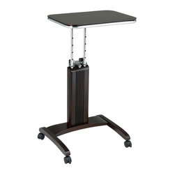 Office Star - Precision Mobile Laptop Stand w Height Adjust - Constructed of wood solids and veneers in a warm espresso finish, this contemporary laptop stand will be a fashion forward and functional addition to any office decor. Designed with a patent pending adjustable height feature that allows it to be used from a seated or standing position, the stand has a locking castered base that provides both mobility and stability. Made of select solid wood and wood veneers. Espresso finish. Unique patented easy to use height adjustment mechanism. User has ability to work from seated or standing position. Casters for ease of mobility with 2 locking for stability. Patent pending. Adjustable height from 27 in. to 36.5 in.. 20 in. W x 17.75 in. L