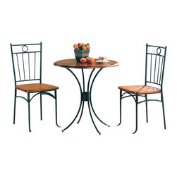 Adarn Inc - 3 PC Casual Style Bistro Round Table Dining Set Metal Frame Wood Top Chair Seat - Adorn your breakfast nook or casual dining area with the simple yet romantic designs of this three piece bistro dining set. The gentle curves of the metal pedestal base compliment the round wooden table top that is bathed in a warm finish. The two side chairs mirror the bistro table with wooden seats and a unique metal seat back. Create the perfect environment to enjoy your morning cup of coffee, Sunday newspaper, or casual meal with this three piece bistro group.