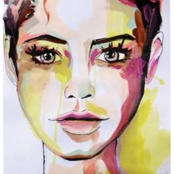 """""""The Wannabe"""" (Original) By Rikki Sneddon - This Is A Portrait Of A Young Woman.  She Betrays A Spirit Of Rebellion In Her Gaze But Also Shows Innocence.  Bold Brush Strokes Create Texture While Layers Of Color Add Depth To Her Skin.  A Short Close Cropped Haircut Frames Her Face And Gold Metallic Accents Provide Pops Of Shimmer.  Very Colorful And Unique She Is One Of A Kind."""