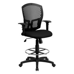 Flash Furniture - Mid-back Designer Back Drafting Stool with Padded Fabric Seat and Arms - This contemporary Designer Back Office Chair features a perforated plastic back and will keep you cool and comfortable throughout the day. This chair features a back tilt lock and pneumatic seat lift.