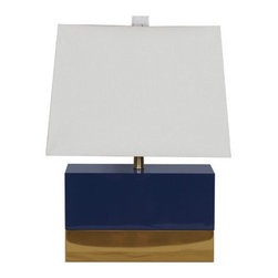 Worlds Away - Foley Navy Lamp - Navy lacquer rectangular lamp with brass base and white rectangular shade. UL approved for one 60W bulb.