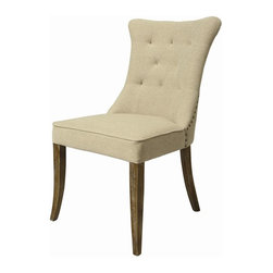 Pastel Furniture - Pastel Furniture Kamioka 38 Inch Side Chair in Distress Charcoal (Set of 2) - The Kamioka Side Chair is a beautiful classic chair with intricate design details. The chair is finished in Distress Charcoal wood and elegantly upholstered in Cream My Linen. This chair with its unique classic design is a timeless masterpiece.