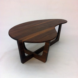 Pearsall Inspired  Kidney Bean Boomerang Solid Walnut Cocktail Coffee Table - Kidney Bean Coffee Table - Mid-Century Modern - Atomic Era Design In Solid Walnut
