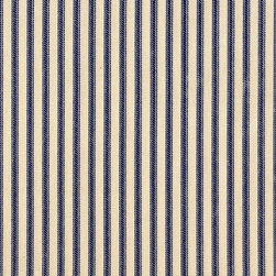 "Close to Custom Linens - 90"" Tablecloth Round Ticking Stripe with Gingham Topper Indigo Blue - Give your dining room the refreshing feel of a classic seaside resort with this ticking stripe tablecloth in indigo blue. You can practically smell the fresh sea air."