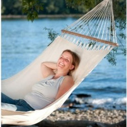 Gale Pacific Single Person Organic Cotton Hammock with Timber Spreader Bar - Experience peace of mind in the Gale Pacific Single Person Organic Cotton Hammock with Timber Spreader Bar. Made from organic cotton, this hammock includes a spreader bar made from durable Forest Stewardship Council (FSC) timber. The extra width and multiple support cables enable a smooth distribution of weight for maximum comfort.