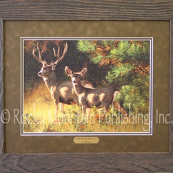 "Rocky Mountain Publishing - Oak Brush Muleys, Greg Beecham Wildlife Art Framed Print - Outdoorsmen  will  love  this  wildlife  art  piece  called,  ""Oak  Brush  Muleys,""  by  Greg  Beecham.  Set  among  a  backdrop  of  oak  brush  and  trees,  this  painting  is  sure  to  instill  a  feeling  of  peace  and  stillness.  Double  matted  and  framed  in  a  natural  wood  frame,  this  art  piece  will  look  right  at  home  in  your  den,  office  or  cabin.                  Dimensions:  Glass  and  matting  16x20;  Exterior  frame  dimensions  approximately  22x26.              Glass  and  double  mats  included              Treated  with  an  acid-free  sealant  to  protect  from  fading              Hanging  system  pre-installed              Artist:  Greg  Beecham;  Allow  2  weeks  for  shipping"
