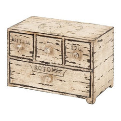 Home Decorators Collection - Ivy Box - Our Ivy Box is a shabby chic way to keep your home organized. Whether you need to store jewelry, mail or electronics, this beautiful box will hold everything while doing it in high style. Organize your living space and order yours now. Wood construction with four drawers. Cream color with a distressed shabby chic finish.