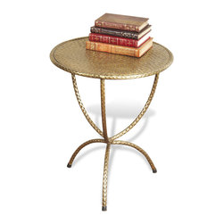 Interlude - Loreto Side Table - Perfection is all about hammering out the details. This lovely side table, featuring extremely detailed hammered brass legs and top, will help you achieve perfection in your home.