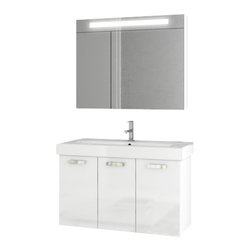 ACF - 37 Inch Glossy White Bathroom Vanity Set - Made in engineered wood and mirrored glass and ceramic and coated in glossy white.
