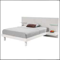 Hokku Designs - Chico White Full Platform Bed w/Nightstands - Features: -Chico collection. -White lacquer finish. -Wood and MDF construction. -Includes two integrated nightstands. -Lighted glass shelves that turn on and off at the touch of button. -European slat system. -Manufacturer provides one year warranty.