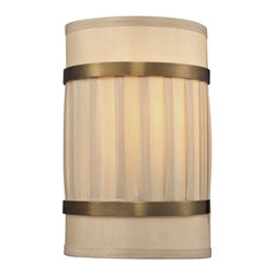 Elk Lighting - Luxembourg Collection 2 light sconce in Brushed Antique Brass - The Luxembourg collection blends classic detailing to a modern design. This series has a pleated cream fabric drum shade accented with metal rings and traditional hardware finished in Brushed Antique Brass.