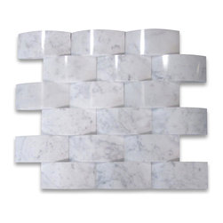 "Stone Center Corp - Carrara Marble 3D Cambered Curved Arched Mosaic Tile 2x4 Polish - Carrara White Marble 2x4"" 3d cambered curved arched pieces mounted on 12x12"" sturdy mesh tile sheet"