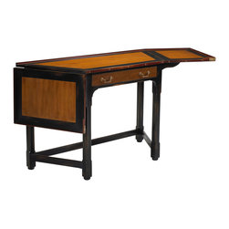 "French Heritage - Slanted Corner Desk with Drop Sides, Black Red and Light Cherry Finish - Beautifully simple, this clipped angled desk provides a compact silhouette or boasts a drop leaf on either side for occasions when your affairs need room to expand. - Open Dimensions: 77""W x 27""D x 31.5""H. - Maple. - Weight: 80lbs"