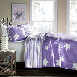 Lush Decor - Star Purple Two-Piece Twin Quilt Set - - Recreate celestial feel in your bedroom with this classic printed quilt. Star pattern on one side and matching colored stripes reverse with matching shams, this style is a star in itself. Made from 100% cotton, this set is soft to the hand and has wonderful quilting details  - Set Includes: 1 quilt, 1 sham  - Care Instructions: Machine wash cold, gentle cycle, only non chlorine bleach when needed, tumble dry low, steam if needed, do not iron   - Fill Content: 100% polyester Lush Decor - C21941P14-000