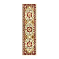 Safavieh - Ivory and Red Floral Traditional Rug (2 ft. 3 in. x 12 ft.) - Size: 2 ft. 3 in. x 12 ft. Machine Made. Made of Polypropylene. Top notch quality and traditional style make this Lyndhurst runner rug a perennial favorite. It has an ivory and beige field contrasted with a deep red border. Plentiful floral medallions and scrolled vines complete the look.