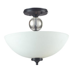 Three Light Matte Black White Glass Bowl Semi-Flush Mount - With a contrasting white shade and crystal sphere, this three-bulb semi-flush is a unique mix of contemporary and traditional styling. Finished in matte black, this fixture creates an elegant yet bold statement.