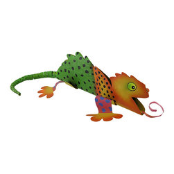 Orange/Green Polka Dotted Metal Lizard Garden Statue - This whimsical orange and green polka dotted lizard adds a colorful accent to your garden, flower bed, patio, or porch. He adds a lively tropical accent and his springy tail wobbles around. The colorful reptile measures 16 inches long (with tail fully extended), 7 inches wide, and 3 inches tall. The flexible metal material permits a variety of wacky positions for the lizard`s tongue, tail, and legs. Bend this adjustable creature into your own personalized shape!