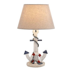 """BZBZ28755 - Wooden Anchor Table Lamp with an on/off Switch in White Shade - Wooden Anchor Table Lamp with an on/off Switch in White Shade. This table lamp is beautifully designed like a ships anchor and a life saver. It is made of durable wood and comes with a solid base that ensures stability. It comes with a dimension of Lamp: 9""""W x 7""""D x 23""""H Shade: 14""""W x 9""""D x 9""""H.Some assembly may be required."""