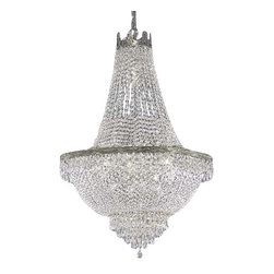 The Gallery - EMPIRE CHANDELIER LIGHTING W/ SWAROVSKI CRYSTAL ! - FRENCH EMPIRE CHANDELIER DRESSED WITH SWAROVSKI CRYSTAL. Dressed with??SWAROVSKI CRYSTAL, this chandelier is characteristic of the grand chandeliers which decorated the finest Chateaux and Palaces across Europe and reflects a time of class and elegance which is sure to lend a special atmosphere in every home.SIZE WD 24X HT 30 9 LIGHTS SHIPPING 15.00 UPS.Assembly Required.