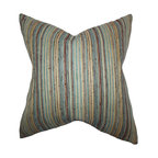 """The Pillow Collection - Bartram Stripes Pillow Blue Brown 18"""" x 18"""" - Perfect the look around your home with a few pieces of this gorgeous accent pillow. This throw pillow features a striking stripes pattern in shades of blue, brown and gold. This toss pillow is ideal for various decor styles and settings. Made in the USA and constructed with 75% polyester and 25% acrylic material. Hidden zipper closure for easy cover removal.  Knife edge finish on all four sides.  Reversible pillow with the same fabric on the back side.  Spot cleaning suggested."""