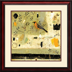 Amanti Art - Bird of One Framed Print by Nicholas Wilton - Nicholas Wiltons Bird of One incorporates a playful mix of text, collage and painting to produce a charming and eye-catching accent for your space.