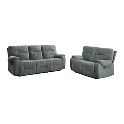 Homelegance - Homelegance Bensonhurst 2-Piece Power Double Reclining Living Room Set - Ease into joyous comfort with the Bensonhurst collection. This power motion group gently reclines with the push of a button. Overstuffed seating, back and arms are covered in a cool blue grey imprinted fabric. Combined with your personal decor, this comfortable seating group will blend effortlessly in your living room.