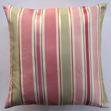 Coral Pink Throw Pillow Cover by Sassy Pillows - Even a comfy couch is better with some nice cushy pillows. The stripes can be a nice contrast to the rest of the room.