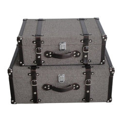 Screen Gems - MANDALAY TWEED SUITCASES - Looking for an alternative to wardrobes and dressers? Try taking a decorative trip with these trim tweed suitcases. Not only will they hold all your unmentionables, they will look fabulous while doing so.