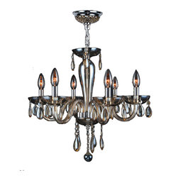 """Worldwide Lighting - Gatsby 6 Light Chrome Finish & Golden Teak Blown Glass Chandelier 22"""" D x 19"""" H - This stunning 6-light Chandelier only uses the best quality material and workmanship ensuring a beautiful heirloom quality piece. Featuring a radiant chrome finish and blown glass in golden teak (translucent champagne color) finish, this elegant chandelier is a work of art in its quality and beauty. Worldwide Lighting Corporation is a privately owned manufacturer of high quality crystal chandeliers, pendants, surface mounts, sconces and custom decorative lighting products for the residential, hospitality and commercial building markets. Our high quality crystals meet all standards of perfection, possessing lead oxide of 30% that is above industry standards and can be seen in prestigious homes, hotels, restaurants, casinos, and churches across the country. Our mission is to enhance your lighting needs with exceptional quality fixtures at a reasonable price."""
