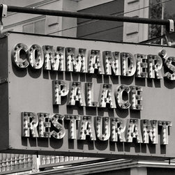 The Andy Moine Company LLC - Commanders Palace Restaurant Retro Sign New Orleans LAcBlack & White Photography - Black and White Fine Art Photography captured with 35MM Ilford Film and reproduced on Canvas OR Brushed Aluminum. This is a beautiful composition of the world famous Commanders Palace Restaurant Sign in the majestic Garden District of New Orleans, Louisiana.