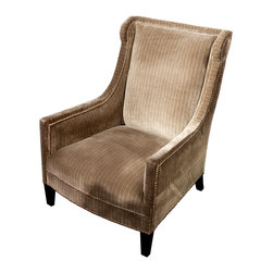 Kathy Kuo Home - Gifford Modern Loft Hollywood Regency Studded Taupe Arm Chair - Luxurious cool is yours with this Hollywood Regency style armchair. Upholstered elegantly in sophisticated striped velvet with brass button accents, this chair is the perfect marriage of comfort and modern design for your home.